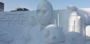 札幌雪祭り白いスターウォーズ